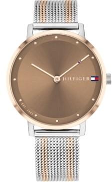 Tommy Hilfiger Women's Two-Tone Steel Mesh Bracelet Watch 35mm, Created for Macy's