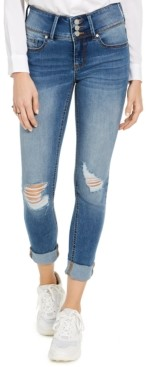 Indigo Rein Juniors' Triple-Button Cuffed Skinny Jeans