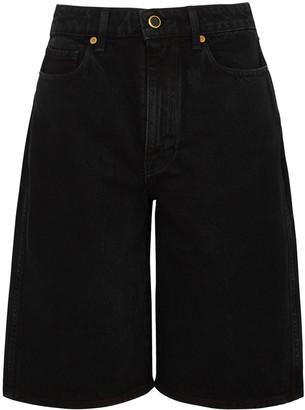 KHAITE Mitch black wide-leg denim shorts