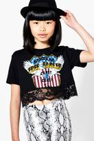 boohoo Girls Free Eagles Lace Crop Top black