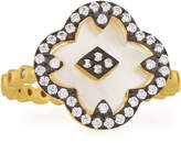 Freida Rothman Mother-of-Pearl Clover Harlequin Ring, Size 7