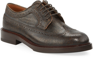 Brunello Cucinelli Men's Antiqued Leather Wing-Tip Derby Shoes