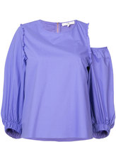 Tibi asymmetric top - women - Cotton - 2