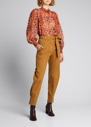 Ulla Johnson Edith Printed Tie-Neck Blouse