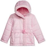 S. Rothschild Rosette Puffer Jacket with Faux Fur Trim, Toddler Girls (2-6X) & Little Girls (2-7)