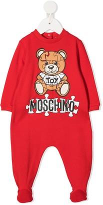MOSCHINO BAMBINO Marl Knit Logo Print Baby Grow