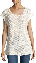 Bobeau Open-Weave Cap-Sleeve Sweater, Beige