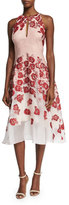 Lela Rose Floral-Embroidered Halter-Neck Dress, Pink
