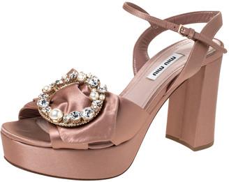 Miu Miu Beige Satin Crystal Embellished Platform Ankle Strap Sandals Size 37