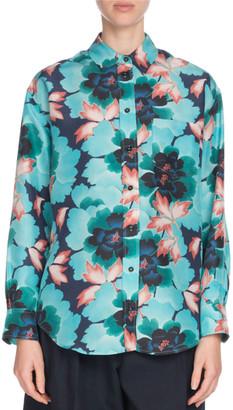 Kenzo Floral Silk Button-Front Pocket Shirt