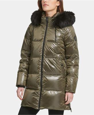 DKNY High-Shine Faux-Fur-Trim Hooded Puffer Coat