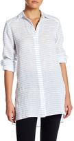 Alice + Olivia Otis Roll Cuff Side Slit Linen Blend Shirt