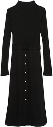 Theory Long-Sleeve Combo Sweater Dress