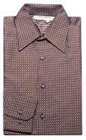 Saint Laurent Men's Cotton Point Collar Dress Shirt Brown.