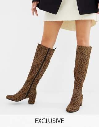 Monki knee high heeled boot in leopard print-Multi