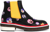Christopher Kane Floral-print Textured-leather Chelsea Boots - IT38