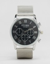 Reclaimed Vintage Chronograph Mesh Strap Watch In Silver