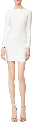 Herve Leger Crewneck Long-Sleeve Short Ponte Dress