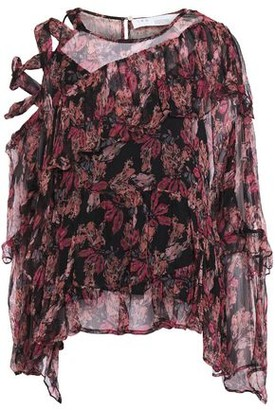 IRO Instant Cutout Lace-up Tiered Floral-print Crepon Blouse