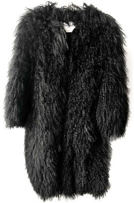 Blumarine Black Mongolian Lamb Coat for Women