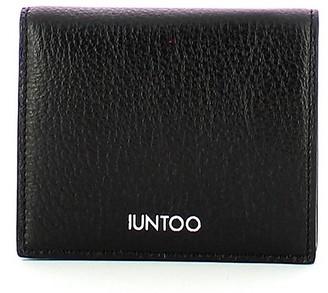 Iuntoo Black Leather Armonia Bi-Fold Women's Wallet