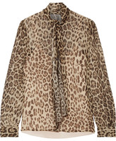 RED Valentino Pussy-bow Leopard-print Silk-crepon Blouse - Leopard print