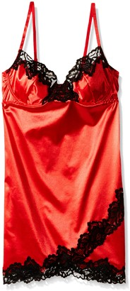Dreamgirl Women's Stretch Satin Underwire Chemise with Demi Cups