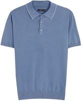 Corneliani Blue Fine-knit Cotton Polo Shirt