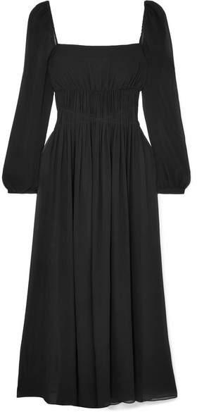 Stella McCartney Open-back Shirred Silk-georgette Maxi Dress - Black