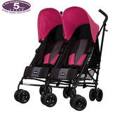 O Baby Obaby Apollo Black and Grey Twin Stroller - Pink