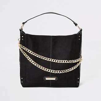 River Island Black double chain front slouch bag