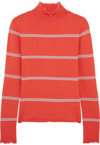 Topshop Margot Striped Stretch-knit Turtleneck Top - Red