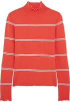 Topshop Margot Striped Stretch-knit Turtleneck Top