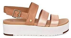 UGG Women's Braelynn Suede & Leather Flatform Sandals