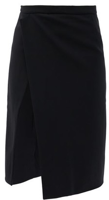 Atlein - Asymmetric Stretch-jersey Skirt - Black