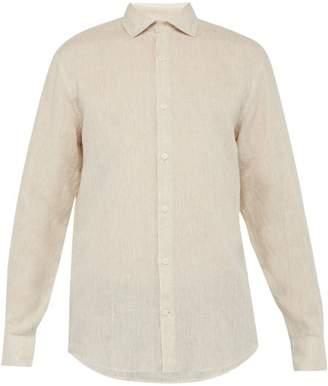 Frescobol Carioca Point-collar Slubbed Linen Shirt - Mens - Beige