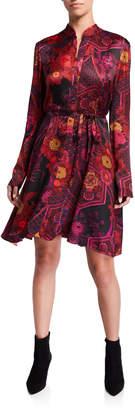 Natori Printed Crinkle Satin Long-Sleeve Shirtdress