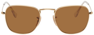 Ray-Ban Gold and Brown Frank Legend Sunglasses
