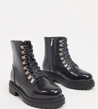Raid Wide Fit Sofia flatform boots with eyelet detail in black