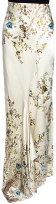 Roberto Cavalli Cream Floral Shimmer Print Silk Flared Maxi Skirt L