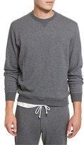 Brunello Cucinelli Cotton-Blend Jersey Crewneck Sweatshirt, Dark Gray