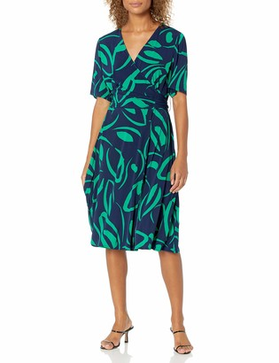 Donna Morgan Women's Plus Size Short Sleeve Faux Wrap Printed Matte Jersey Dress
