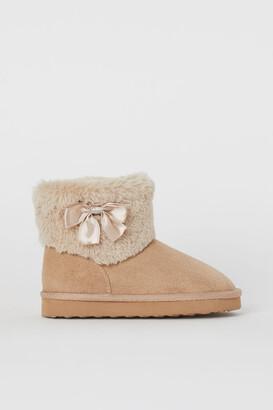 H&M Faux Fur-lined Boots - Beige