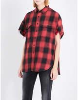R 13 Plaid linen-blend shirt