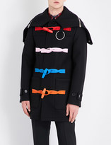 Givenchy Multicolour-detail hooded wool coat