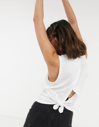 J.Crew J. Crew knot back jersey tank top in white