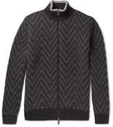 Etro Chevron-knit Wool Zip-up Sweater - Gray
