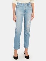 AG Jeans Isabelle Button Up High Rise Straight Leg Jeans