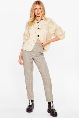 Nasty Gal Womens Square Are You Now Check Trousers - Brown - 8