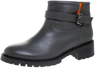 Fendi Dark Grey Leather Cuff Ankle Boots Size 40